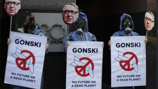 International Campaign to Abolish Nuclear weapons: Demonstrators protest in Melbourne.
