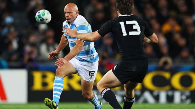 Still going strong: Felipe Contepomi in action during the 2011 World Cup.