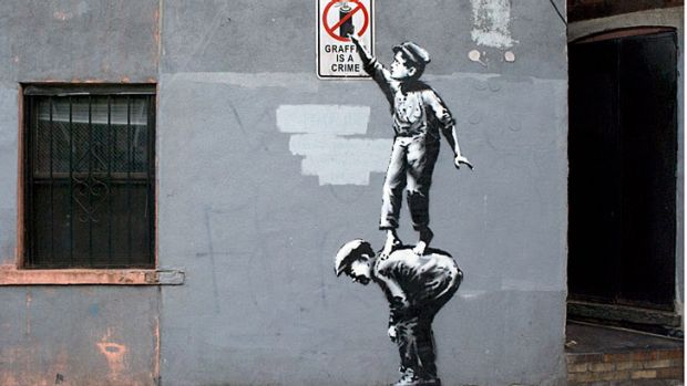 Whited out: Banksy art, titled <i>The Street Is In Play</i>, survived less than a day in New York.
