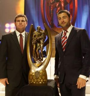 Meal deal: Sea Eagles and Roosters captains Jamie Lyon and Anthony Minichiello at the NRL grand final lunch.