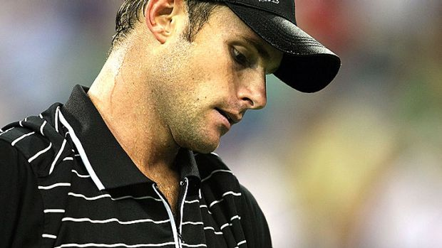 Despondent: Andy Roddick during his loss to Novak Djokovic at the 2008 US Open.