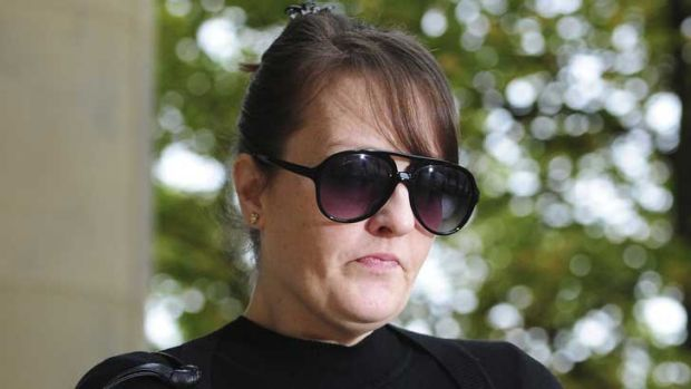 Amanda Hutton outside court - she has been found guilty of the manslaughter of her four-year-old son, Hamzah Khan.