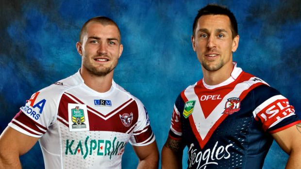 Brothers in arms: Kieran Foran and Mitchell Pearce at Thursday's grand final lunch.