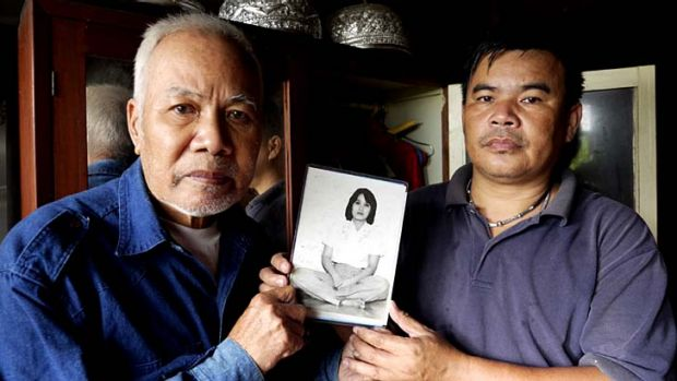Pleading: Sukham Panjoy (left), the brother of Anocha, and his son Banjong Panjoy. She disappeared from Macau in 1978.