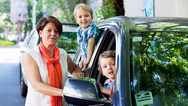 Trapped: Juliemma Moran was left helpless when her children, Hugo (front) and Harry, locked themselves in the car.