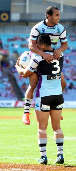 Bagged a double: Sharks centre Krisome Auva'a is congratulated after scoring in the NSW Cup grand final.