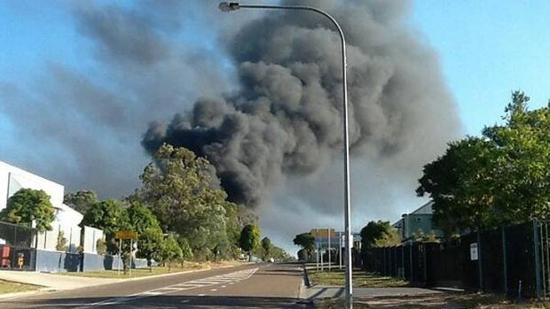 A fire rages in Carole Park. Photo: Michael Best, Channel 9 via Twitter