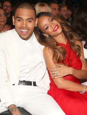 On-and-off-again couple: Chris Brown and Rihanna attend the 55th Annual Grammy Awards earlier this year. He remains on ...