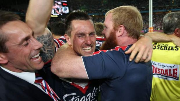 Time to celebrate: Mitchell Pearce of the Roosters.