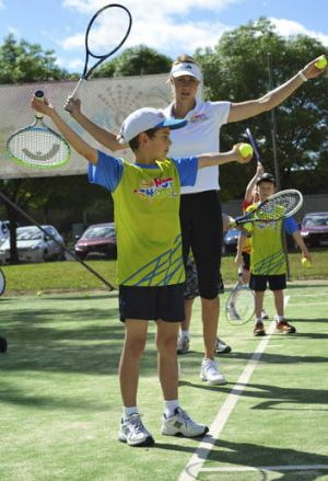 Lachlan Hewatt and three friends at a private coaching clinic with Alicia Molik.
