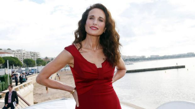 US actress Andie MacDowell poses during a photocall for her new TV show <i>Cedar Cove</i> at Mipcom in Cannes.
