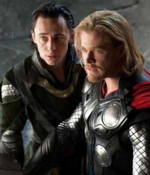 Teaming up again .. Tom Hiddleston as Loki and Chris Hemsworth as Thor.