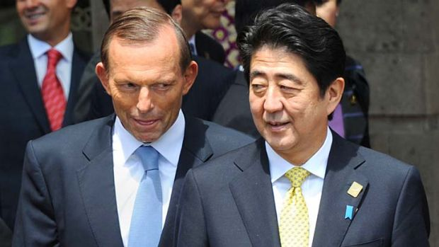 "Talks between the two leaders were ""exceptionally warm"": Australia's Prime Minister Tony Abbott and Japan's Prime ..."