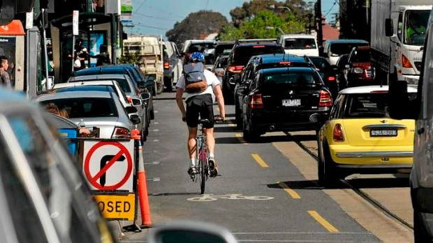 Glenferrie Road will be the first in Melbourne to get an anti-dooring bike lane.
