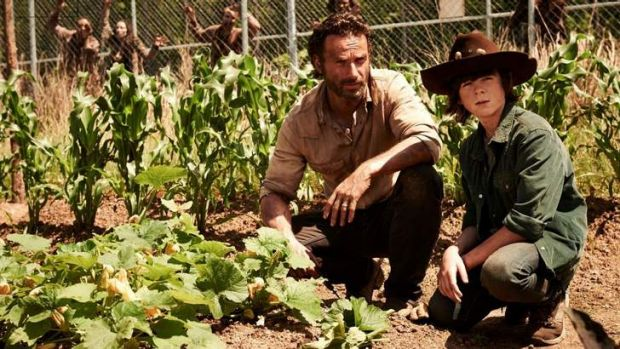 <i>The Walking Dead</i> stars Andrew Lincoln and Chandler Riggs (Rick and Carl Grimes).