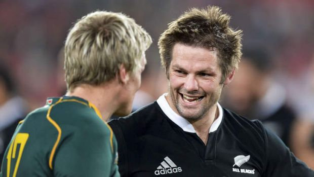 Best of the best: New Zealand's captain Richie McCaw with his South African counterpart Jean de Villiers.