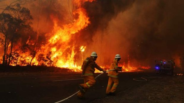 A Rural Fire Service brigade abandons a truck during a burn at Londonerry.