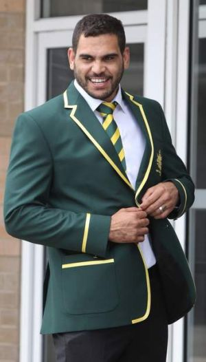 Blazer glory: Greg Inglis suits up for the World Cup on Thursday.