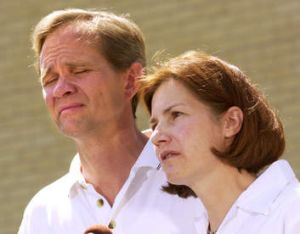 Every parent's nightmare … Ed and Lois Smart hold a press conference after their daughter's disappearance.