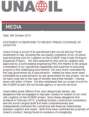 A screengrab, from the Unaoil website, of the statement to media.
