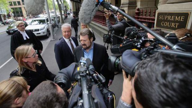Derryn Hinch arrives at the Supreme Court in Melbourne.