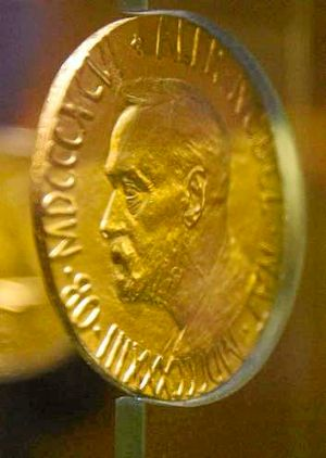 An 18-carat gold Nobel Peace Prize medal.