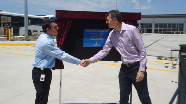Brisbane City Cr Peter Matic and Lord Mayor Graham Quirk at the opening of the new bus depot at Eagle Farm on Sunday.