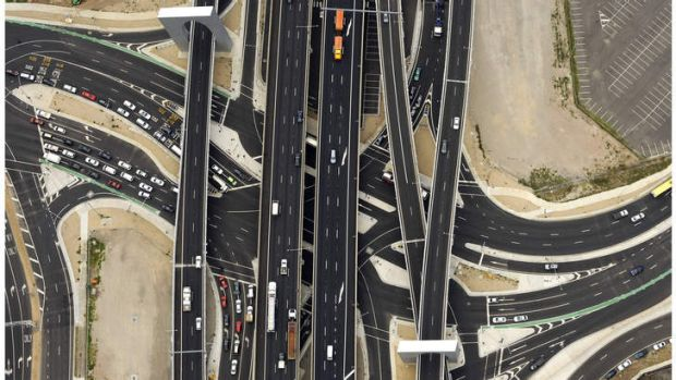 An aerial view of the freeway interchange at Montague Street.