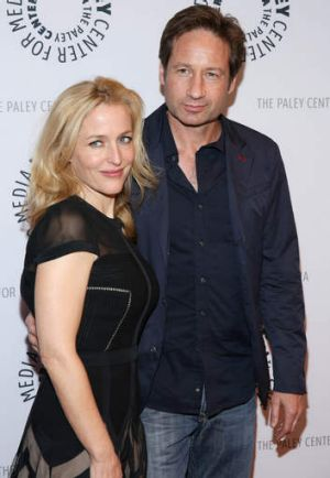 Gillian Anderson and David Duchovny attend The Truth Is Here: <i>The X-Files</i> anniversary talk presented by the Paley ...