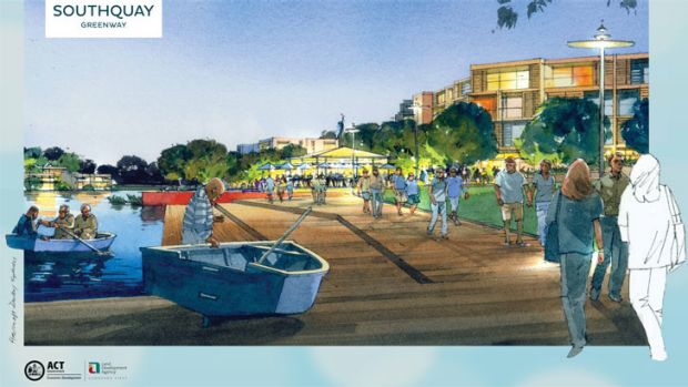 An artist's impression of SouthQuay, a new residential development at Lake Tuggeranong for 1000 dwellings.