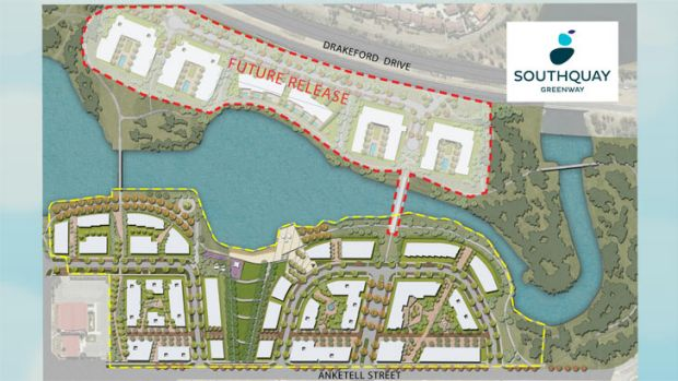 The new SouthQuay residential development will be on the shores of Lake Tuggeranong.