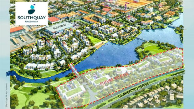 The new SouthQuay residential development will be across the lake from Tuggeranong town centre.
