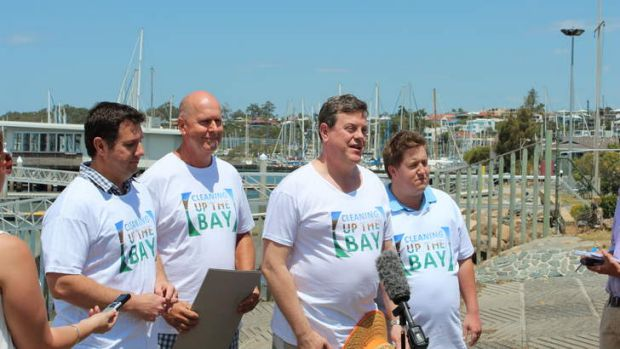 Environment Minister Andrew Powell, Clubs Queensland CEO Doug Flockhart, Queensland treasurer Tim Nicholls and Member ...