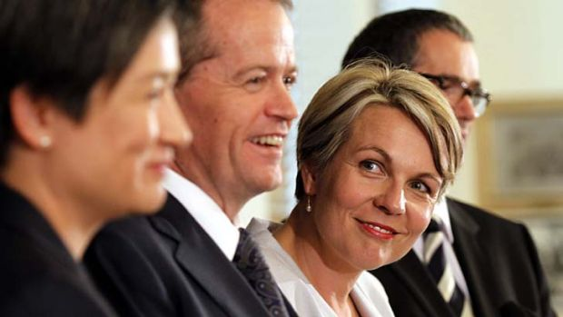 Leadership team: Opposition Leader Bill Shorten and Deputy Opposition Leader Tanya Plibersek, with Leader of the ...