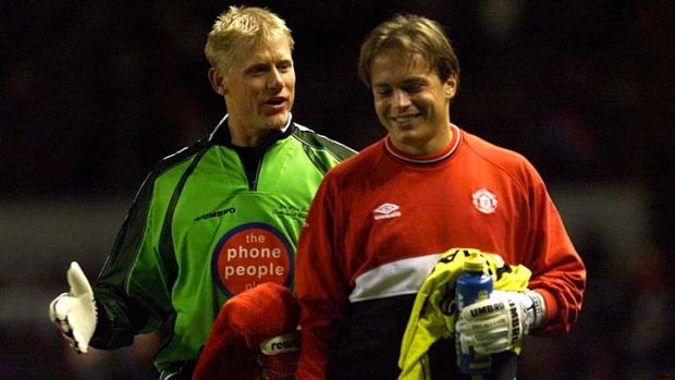 11 Oct 1999;  Peter Schmeichel and Mark Bosnich during the Sir Alex Ferguson Testimonial Manchester United v The Rest Of ...