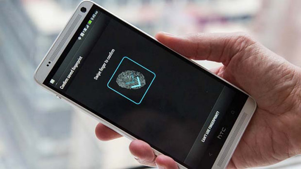 HTC One max's fingerprint scanner in action.
