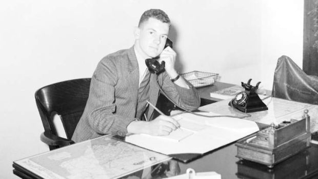 Australia broad jumper Basil Dickinson, pictured at work in Sydney on 28 April 1936, two weeks before departing with the ...