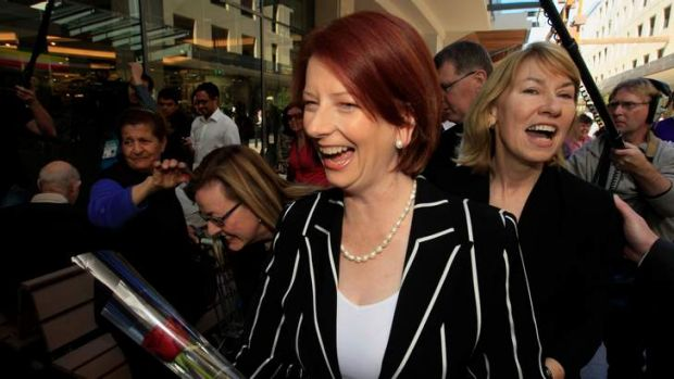 Former prime minister Julia Gillard campaigning with former Bennelong MP Maxine McKew, who criticised the Ms Gillard for ...