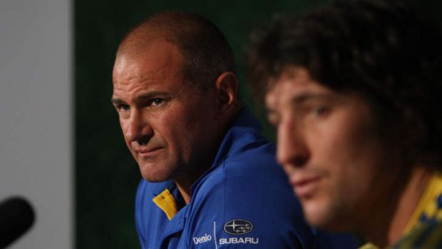 Brad Arthur with Nathan Hindmarsh during his stint at Parrammatta in 2012.