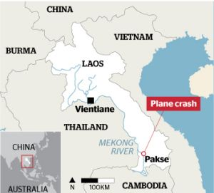 The plane crashed in southern Laos.