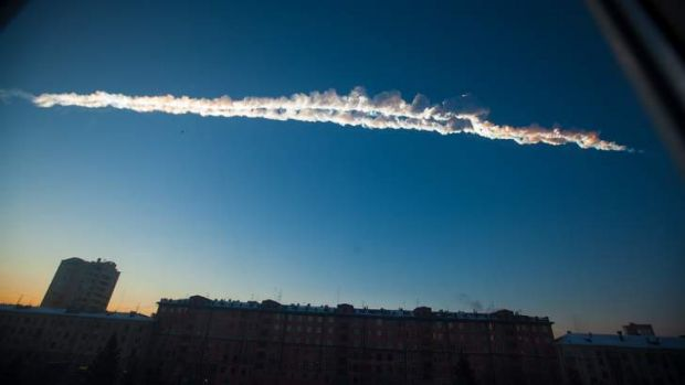 A meteorite contrail is seen over the Ural Mountains' city of Chelyabinsk.