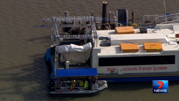 Film equipment on one of Stradbroke Ferries' water taxis. Photo: Seven News.