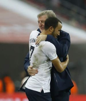 Roy Hodgson hugs Andros Townsend after the final whistle at Wembley.