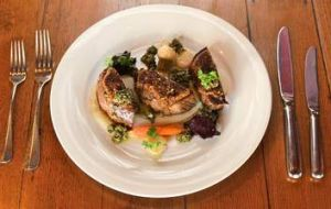 Healthy servings: Milk-fed veal with pistachio and porcini crust.