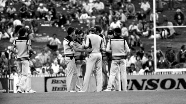 Smokin': New Zealand celebrates in the Benson & Hedges World Series Cup at the SCG in January 1981.