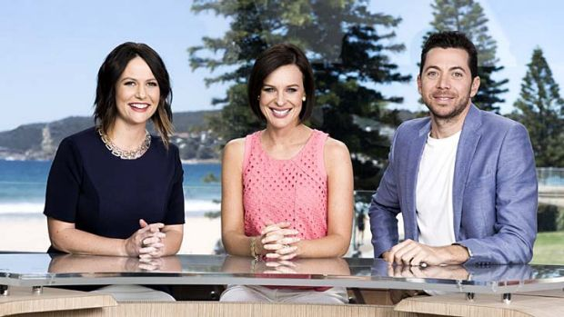 Breezy: The <em>Wake Up</em> breakfast team on their Surf City set, from left: Natasha Exelby, Natarsha Belling and ...