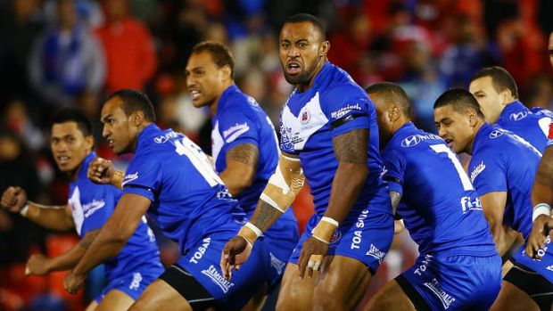 Huge loss: Roy Asotasi of Samoa leads the team's haka before the Test against Tonga at Penrith in April.