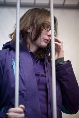 Greenpeace International activist Alexandra Harris of Britain attends a bail hearing at the District Court of Murmans.