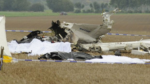 The plane, carrying parachutists for a skydiving trip, crashed killing all on board, officials say.