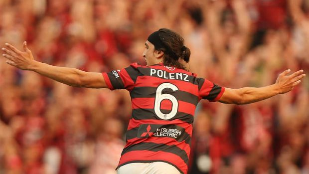 Breakthrough: Jerome Polenz of the Wanderers celebrates his goal against the Phoenix.